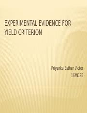 16MD35 - Experimental evidence for yield criterion