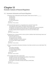 MCQs Chapter 11 Economic Analysis of Financial Regulation