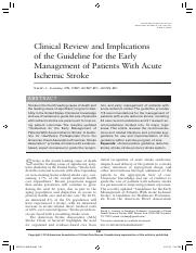 Clinical Review and Implications of the Guideline for the Early Management of Patients With Acute Is