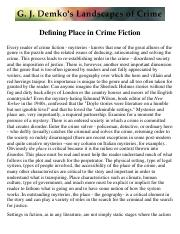 Defining Place in Crime Fiction