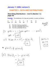 Complete Notes for Jan 11 - Describing Distributions - Cont'd (1.3), The Normal Distribution (1.4