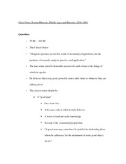 Roman Rhetoric, Middle Ages and Rhetoric notes