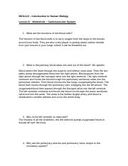 Human Biology BIOL 110 DLB FALL 2014 Worksheet 6 completed
