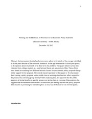 Final Paper on Working and Middle Class as Heuristics for an Economic Policy Statement