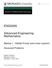 ENG 2005 : Advanced engineering mathematics - Monash - Course