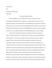 Contemporary Philosophy Final Paper