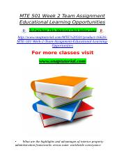 MTE 501 Week 2 Team Assignment Educational Learning Opportunities.doc