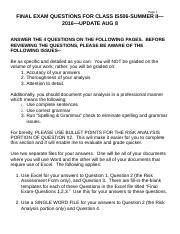 Final ExamQuestions for Class IS506-SUMMER II--2016--UPDATE AUG 8