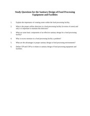 Study Questions for the Sanitary Design of Food Processing Equipment and Facilities