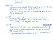 Class Notes on Denial and Sublimation