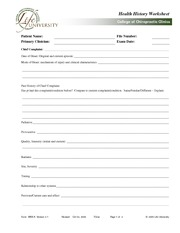 CLIN 2504 Health History Worksheet
