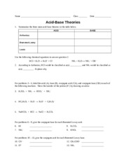Worksheet - Acid-Base Theories (Pre-AP) - 3 H 2 SO 4 NH 3 HSO 4 – NH ...