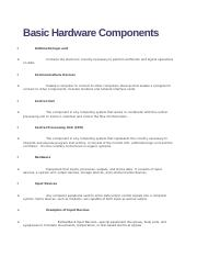Basic Hardware Components