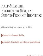 M25 Half Angle and Sum-Product Formulas