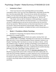 Psychology Chapter 1 Notes and Summary