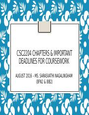 CSC2204 chapters & deadlines for coursework Aug2016