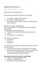 Acturarial Science 1021 Health Care Part 1