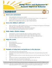 Promote Improved Behavior Handout