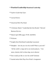 Practical Leadership Situational Leadership