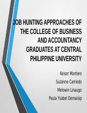 JOB HUNTING APPROACHES OF THE CBA STUDENTS AT