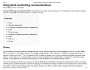 Integrated marketing communications - Wikipedia, the free encyclopedia