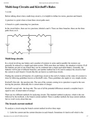 Multi-loop Circuits and Kirchoff's Rules
