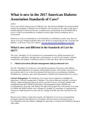 What is new in the 2017 American Diabetes Association Standards of Care.docx