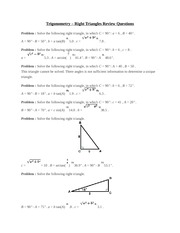 Trigonometry – Right Triangles Review Questions