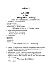 Lecture 1 (Intro to American politics)