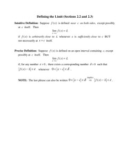 Two Limit Definitions