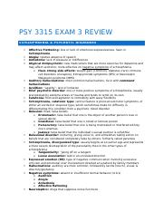 PSY 3315 EXAM 3 Review
