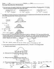 Normal Distribution Worksheet Answer Key.pdf - Name get ...