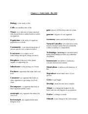 Ch. 1 - Study Guide biology 1010