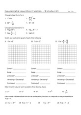 Exponential and Logarithmic Functions worksheet1