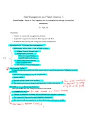L9 - Risk Management and Value Creation II Note