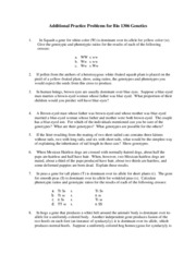 Practice Problems Genetics 1306 sp07