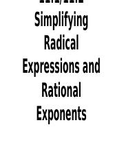 11_1 and 11_2 - Simplifying Radical Expressions and Rational Exponents.pptx