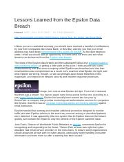 Lessons Learned from the Epsilon Data Breach