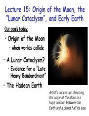 Lecture15 - Origin of Moon, LHB, and Hadean Earth
