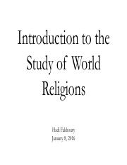 The Study of World Religions (Jan 8 2016)