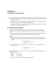 Chapter 1, Currency Exchange Rates Questions & Problems