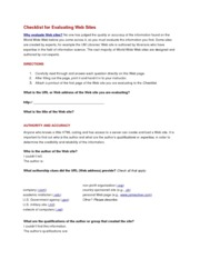 Writing Assignment 2 - website checklist