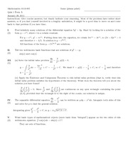 Quiz A Solutions on Introduction to Ordinary Differential Equations
