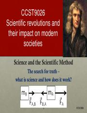 Lecture 01 Science and the Scientific Method I