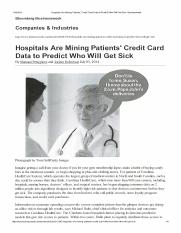 Pettypiece, Robertson, 2014 - Hospitals are mining patients' credit card data to predict who will ge