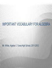 Important  Vocabulary for Algebra Flash Cards