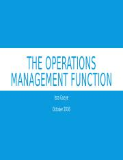 The Operations management Function