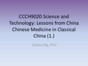 CCCH9020 Lecture 4 Ancient Chinese Medicine (2014)