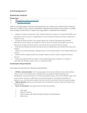 unit 8 assignment 1 break-even analysis.docx
