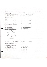 Algebra I Pre-Ap Weekly Quiz Multiple Choice + Answers on  Monimonials and Polynomials